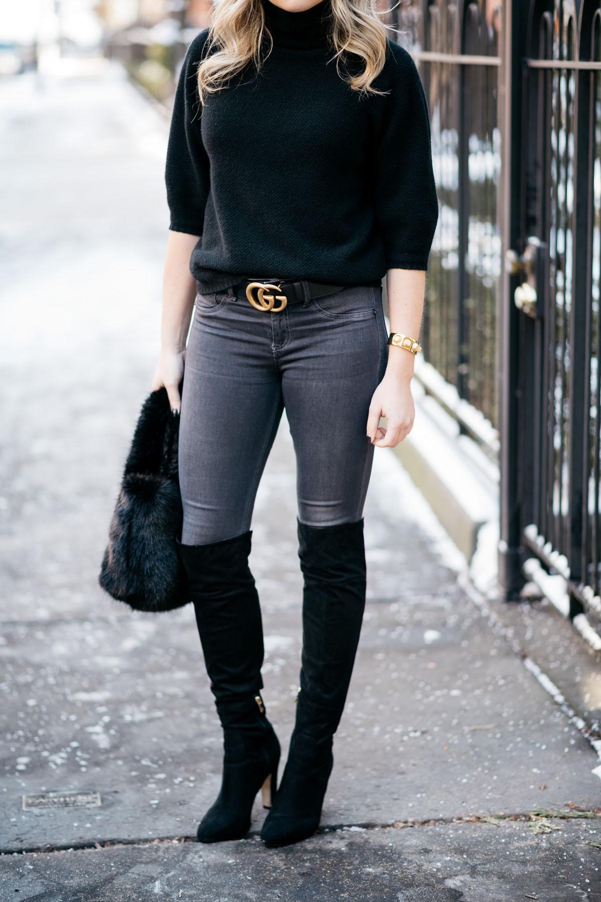 Black Turtleneck Skinny Jeans Gucci Belt Bows Amp Sequins