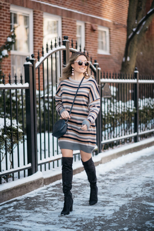 b4448f82bca4 Chicago blogger Jessica Sturdy wearing a Tularosa stripe sweater dress for  winter with over the knee