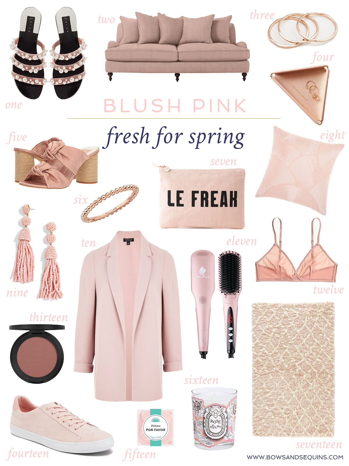 Jessica Sturdy shares her favorite blush pink shopping finds for spring fashion, beauty, and home decor.