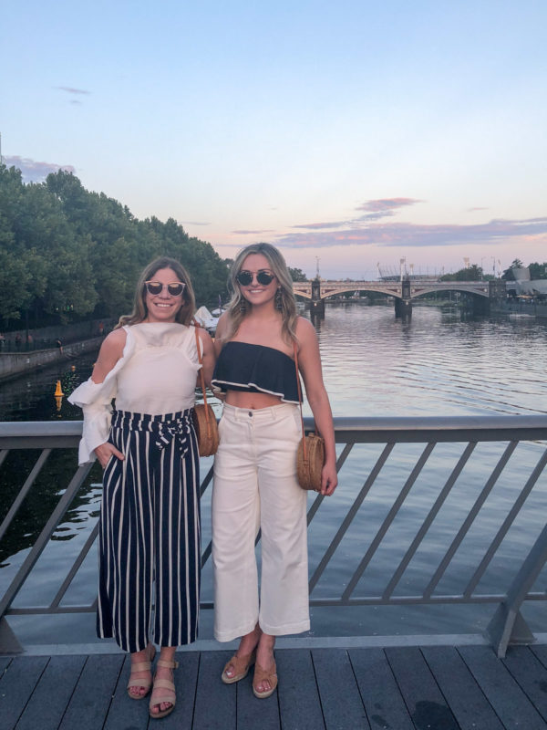 Hallie Wilson and Jessica Sturdy in Melbourne Australia wearing navy and white stripes.