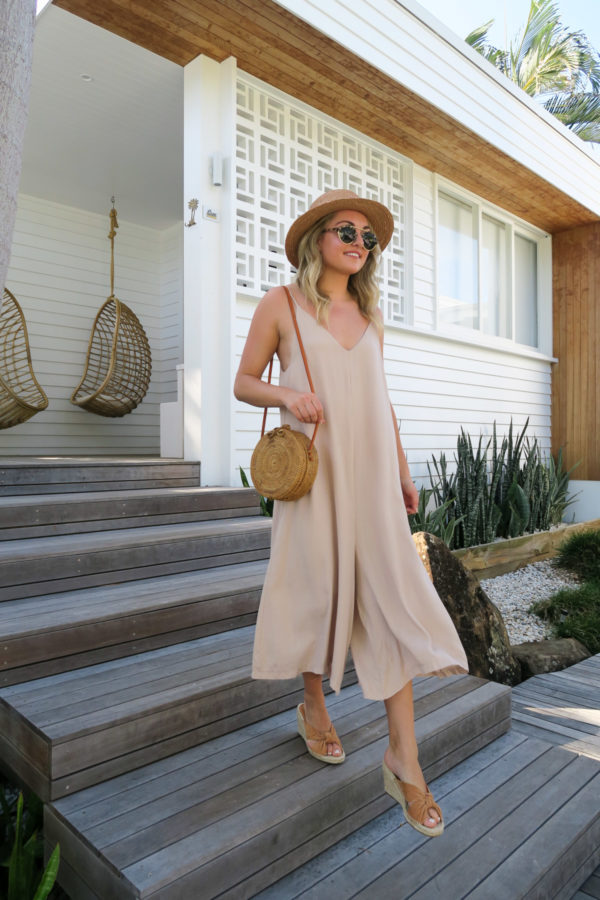 Jessica Sturdy wearing a long flowy jumpsuit at Bask & Stow in Byron Bay Australia