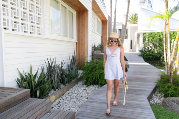 Jessica Sturdy wearing a Shona Joy romper at Bask & Stow in Byron Bay in Australia