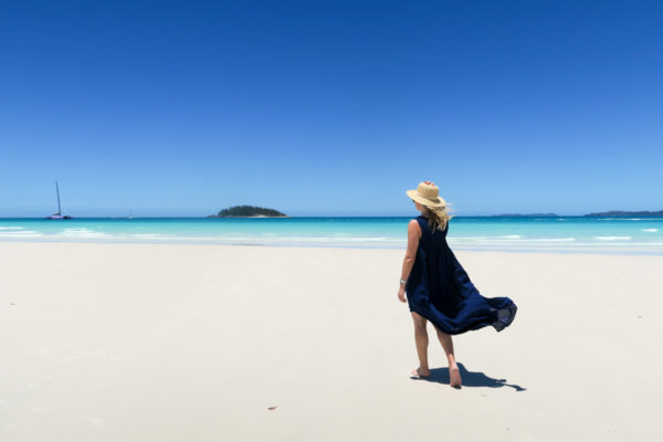Jessica Sturdy on Whitehaven Beach in the Whitsundays in Australia