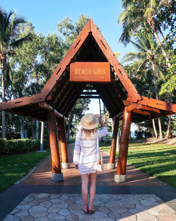Jessica Sturdy wearing a white Milly swim coverup and Jack Rogers sandals in Airlie Beach in Australia