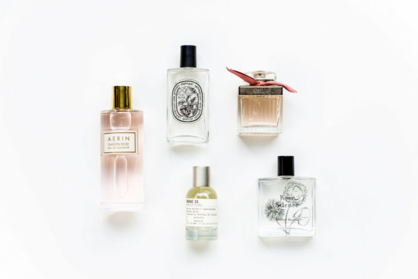 Jessica Sturdy shares her favorite rose-scented perfumes and fragrances: Miller Harris Rose Silence, Le Labo Rose 31, Chloe Roses, Diptyque Eau Rose, and Aerin Garden Rose.