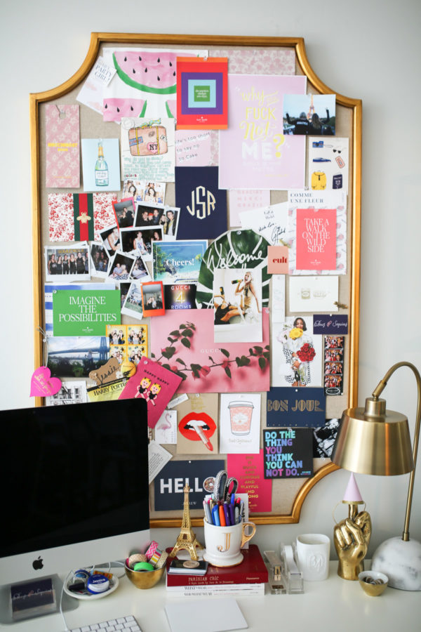 Jessica Sturdy shares her home office with memo board quotes.