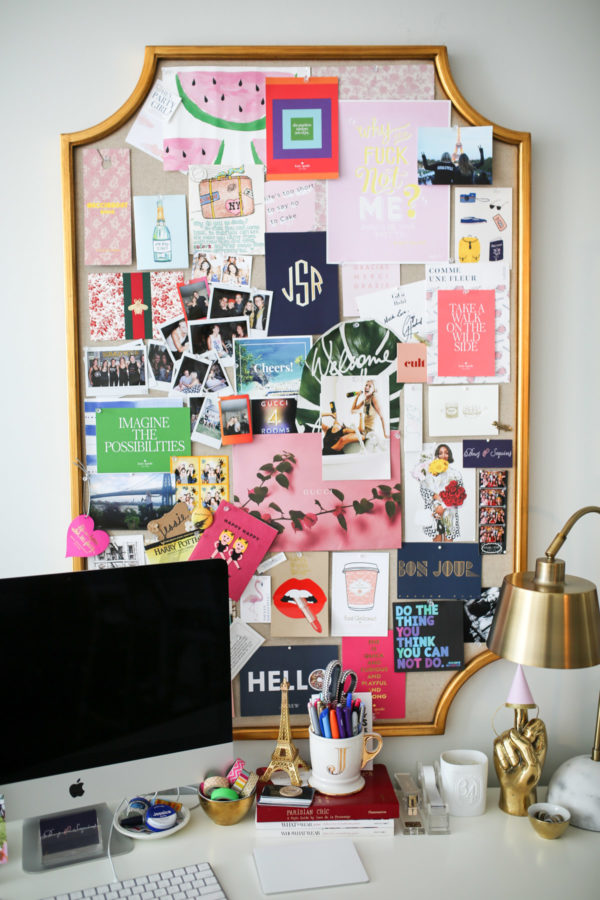 Jessica Sturdy shares tips for making a memo board in her Chicago home office. She has a gold PB Teen Emily & Merritt Scalloped Memo Board with an Apple iMac desktop computer.