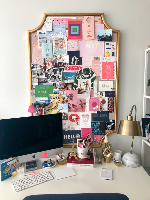 Jessica Sturdy shares how to decorate a memo board in her colorful home office in Chicago.