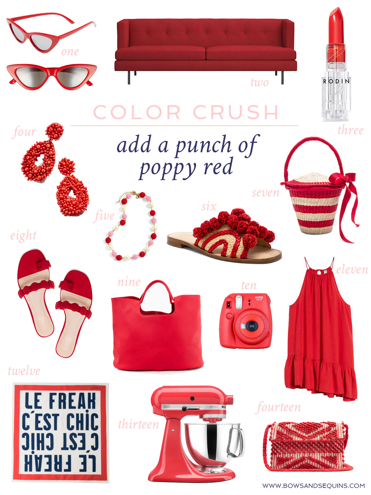 Jessica Sturdy shares her favorite poppy red accessories for spring and summer across a variety of verticals: beauty, home, style, kitchen, and fashion.