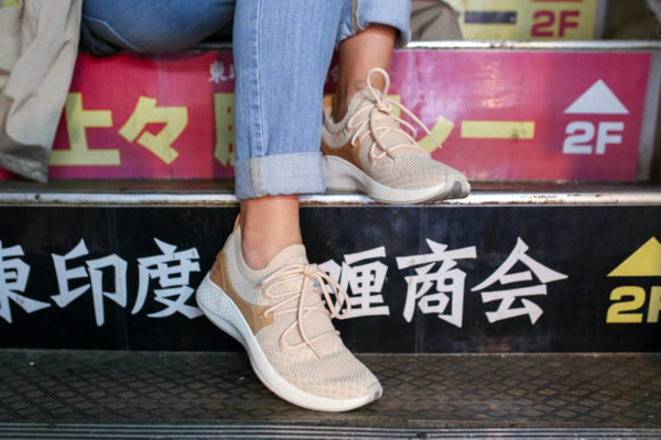 Jessica Sturdy wearing light pink Timberland Fly Roam Go Knit Chukka Shoes in Apple Blossom.