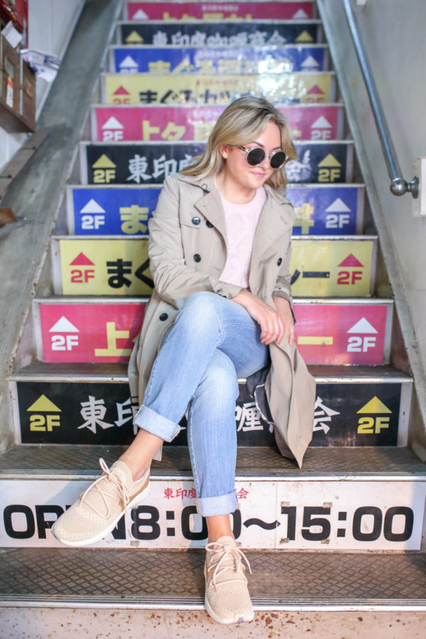 Jessica Sturdy wearing cute blush pink Timberland sneakers in Japan.