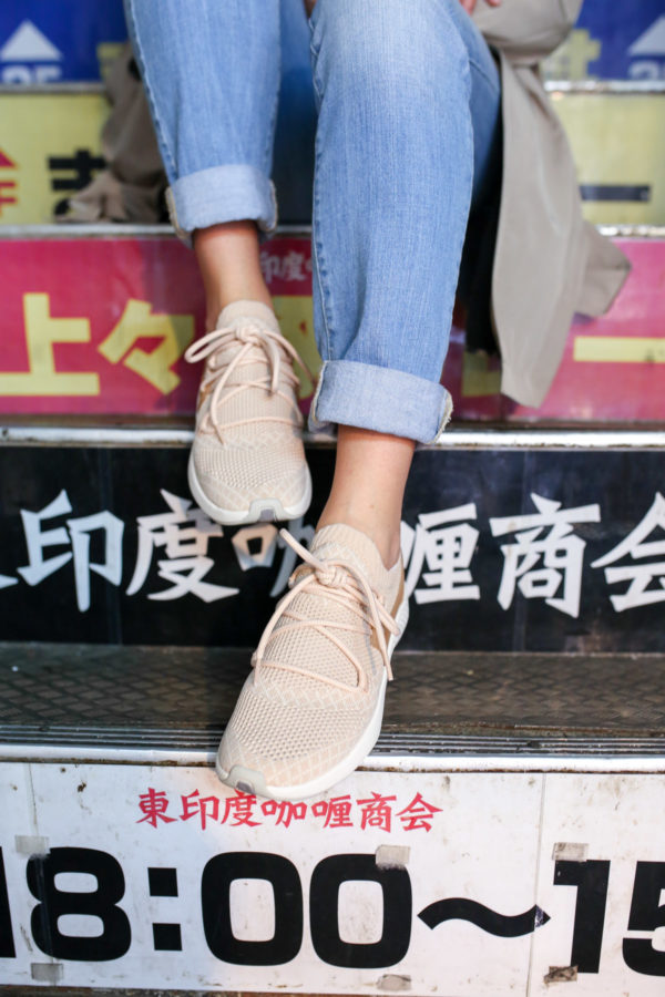 Jessica Sturdy wearing light pink Timberland Fly Roam Go Knit Chukka Sneakers in Apple Blossom.