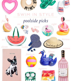 Jessica Sturdy shares her favorite poolside accessories for summer: cute beach towels, fun pool floats for Instagram, and cheeky drinkware and accessories.