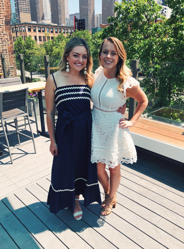 Jessica Sturdy wearing a ric rac maxi dress to a bridal shower on the rooftop at Little Goat in Chicago's West Loop.