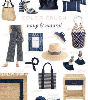 Jessica Sturdy shares her favorite spring and summer home decor and fashion accessories in a navy blue and natural textured color palette.