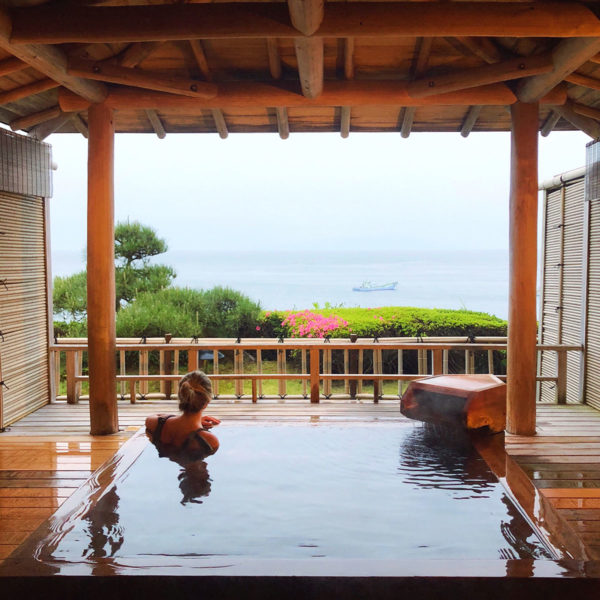 Jessica Sturdy in an onsen in Japan on the Izu Peninsula at a Japanese ryokan.