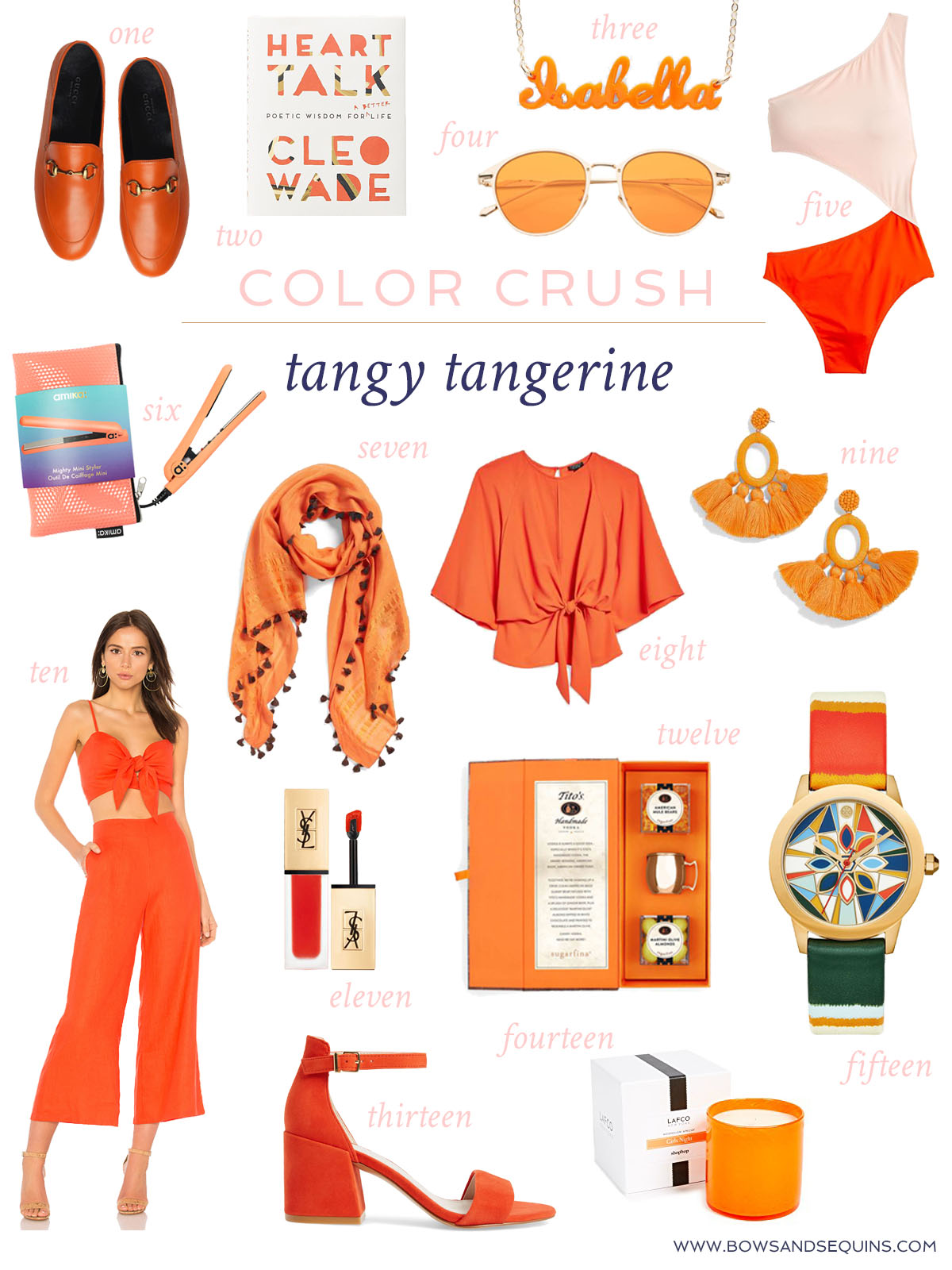 Jessica Sturdy shares fifteen brightly colored orange accessories for summer in the home, beauty, and fashion space.