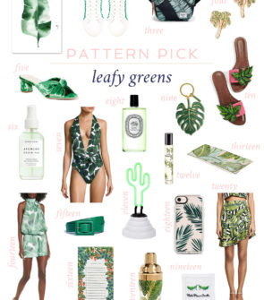 Cute palm print and banana leaf pieces for spring and summer in clothing, accessories, shoes, jewelry, and home decor.