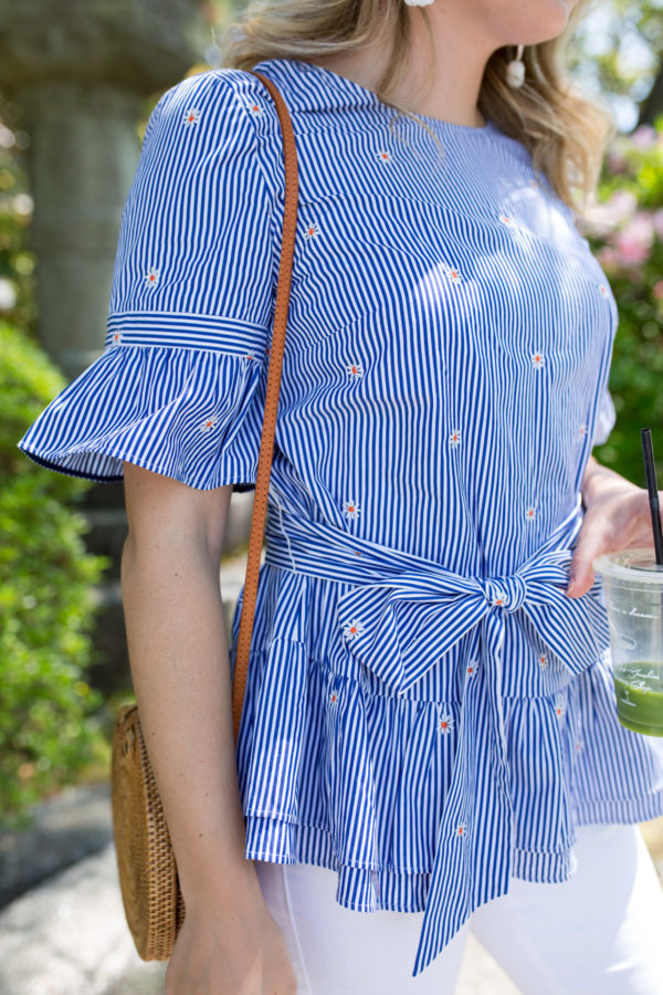 Fashion blogger Jessica Sturdy wearing a striped daisy top from Nordstrom's new 1901 line.