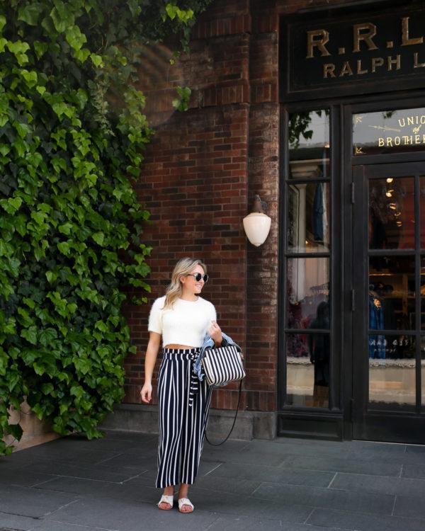 Style blogger Jessica Sturdy wearing Zara cropped wide leg pants in Tokyo, Japan.