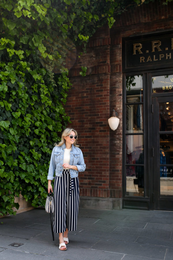 Blogger Jessica Sturdy wearing a light wash denim jacket with navy blue and white cropped wide leg pants from Zara in Tokyo, Japan.