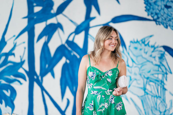 Chicago blogger Jessica Sturdy styling an Eliza J green floral dress exclusively at Nordstrom.