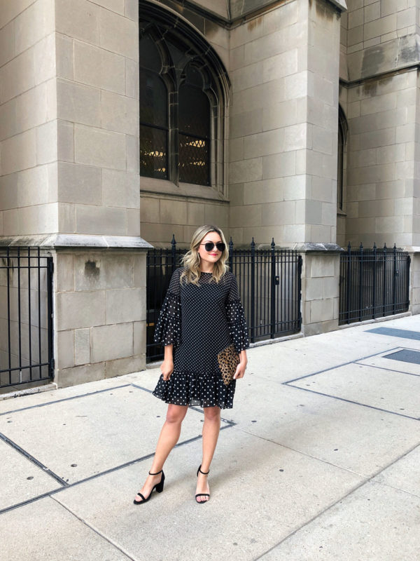 Jessica Sturdy styling a black and white long sleeve polka dot dress with a Clare V leopard clutch before the Z Bar opening at the Peninsula hotel in Chicago.