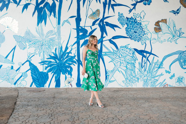 Chicago fashion blogger Bows & Sequins styling a green floral dress.