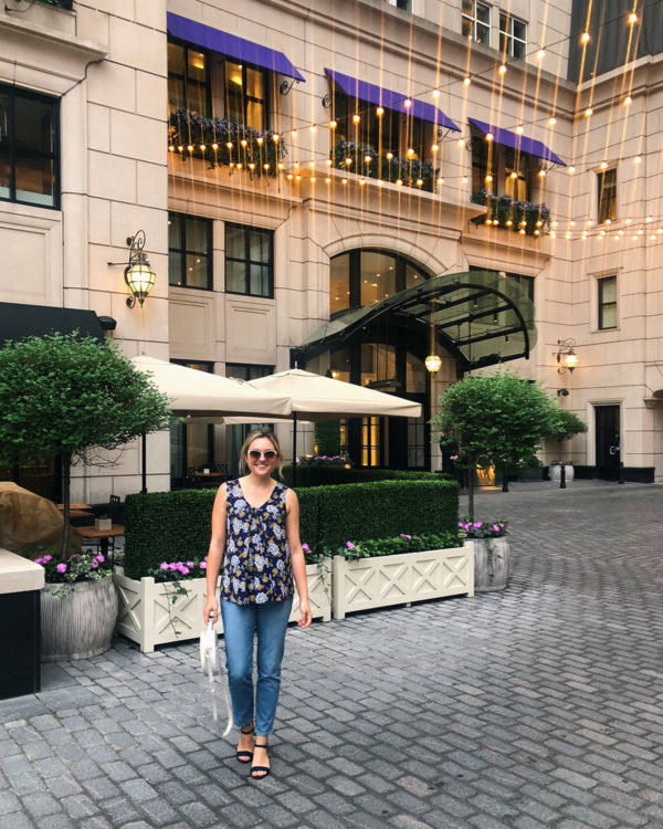 Bows & Sequins wearing a Bobeau Tank and Mott & Bow Mom Jeans at the Waldorf in Chicago.