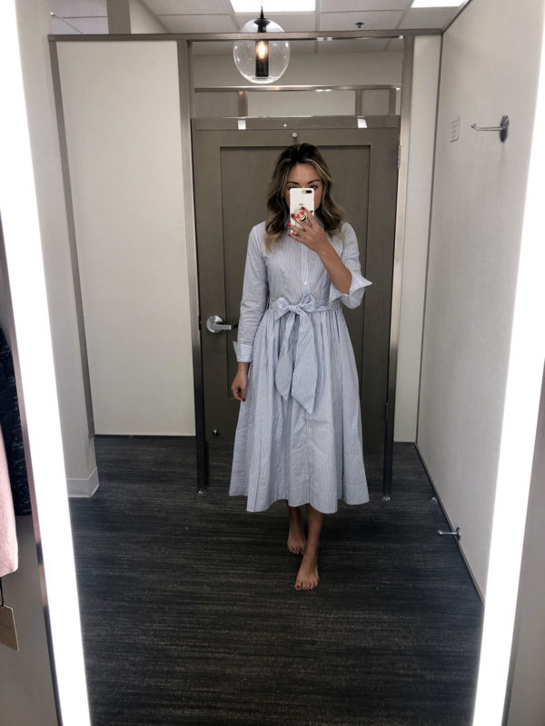 Nordstrom Anniversary Sale Best Purchase 1901 Striped Midi Shirt Dress Fit & Flare Dressing Room Try On