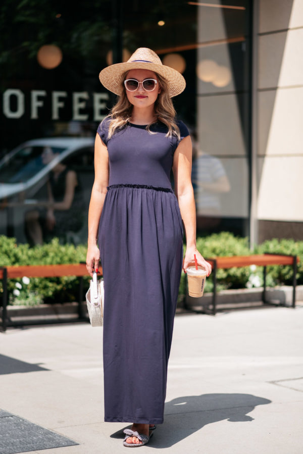 Chicago blogger Bows & Sequins wearing a navy blue maxi dress at La Colombe in the Gold Coast.