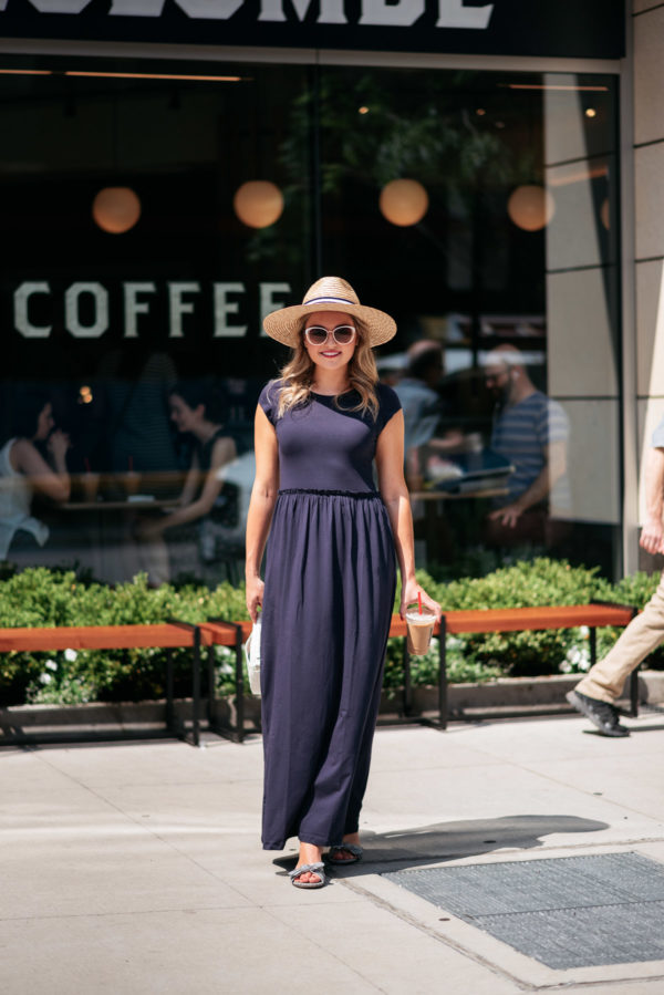 Chicago travel blogger Jessica Sturdy wearing an Elegantees blue maxi getting coffee at La Colombe on State & Elm.