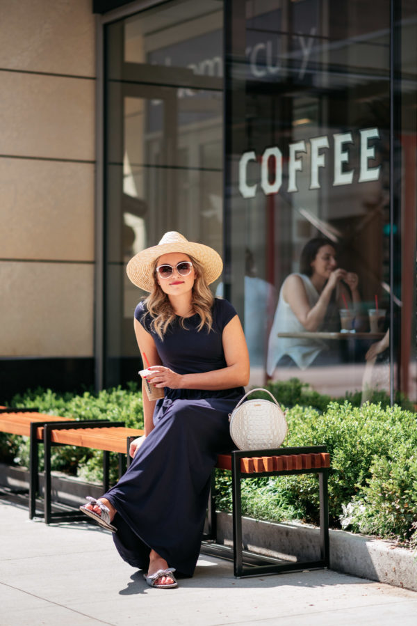 Chicago personal stylist Jessica Sturdy wearing a straw hat, Brahmin circle handbag, J.Crew gingham bow slides, and an Elegantees blue maxi dress at La Colombe in the Gold Coast.