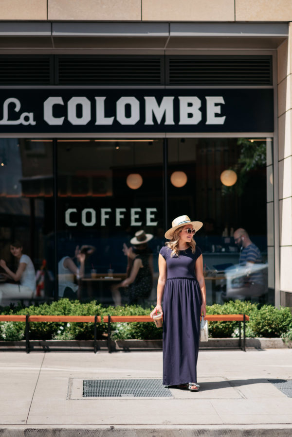 Chicago fashion blogger Jessica Sturdy wearing a striped straw hat and casual maxi dress getting coffee at La Colombe at State & Elm Street.