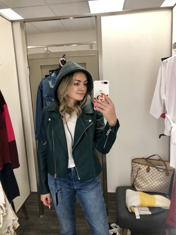 Nordstrom Anniversary Sale dressing room finds: Green leather jacket with sweatshirt hood
