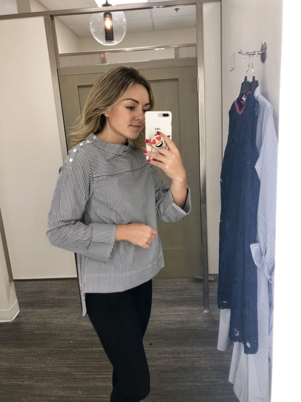 Nordstrom Fitting Room Try On J.Crew Striped Boatneck Shirt