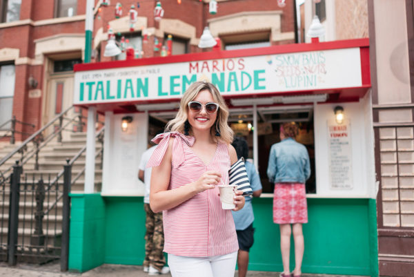 Chicago food blogger Jessica Sturdy at Mario's Italian Lemonade stand in Chicago's Little Italy neighborhood.