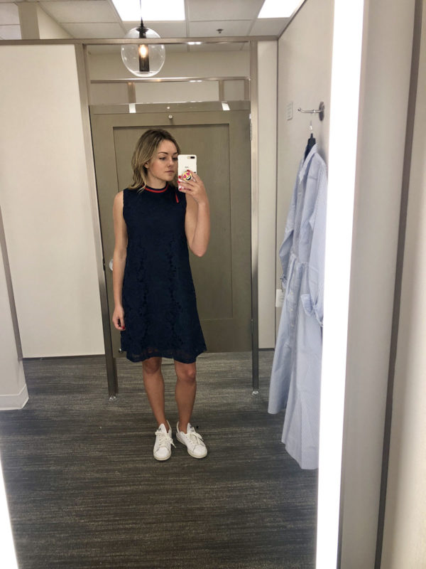 Jessica Sturdy Bows & Sequins Nordstrom Fitting Room Try On Blog Post Navy Lace Gucci Dress with Stan Smith Sneakers
