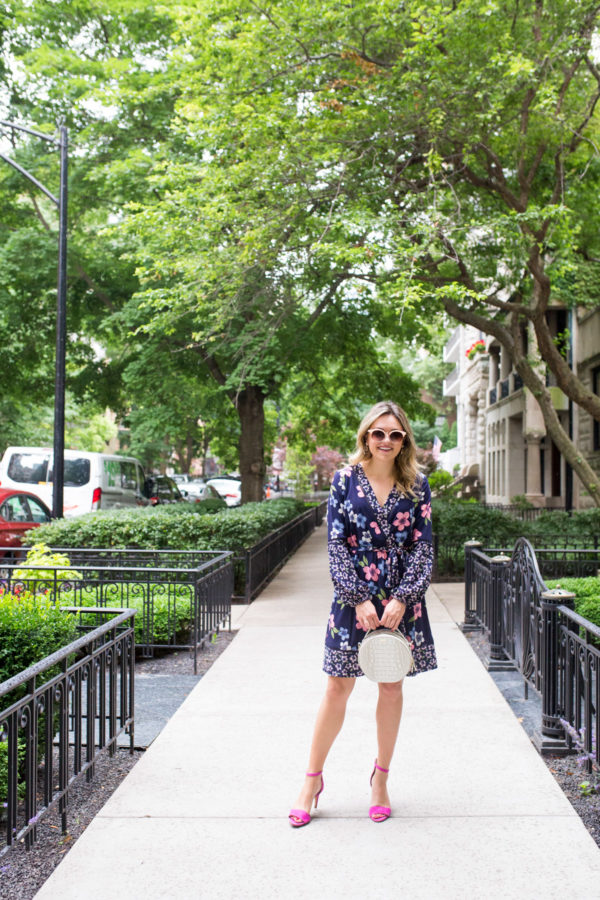 Chicago fashion blogger Bows & Sequins wearing a long sleeve floral dress from the Nordstrom Anniversary Sale