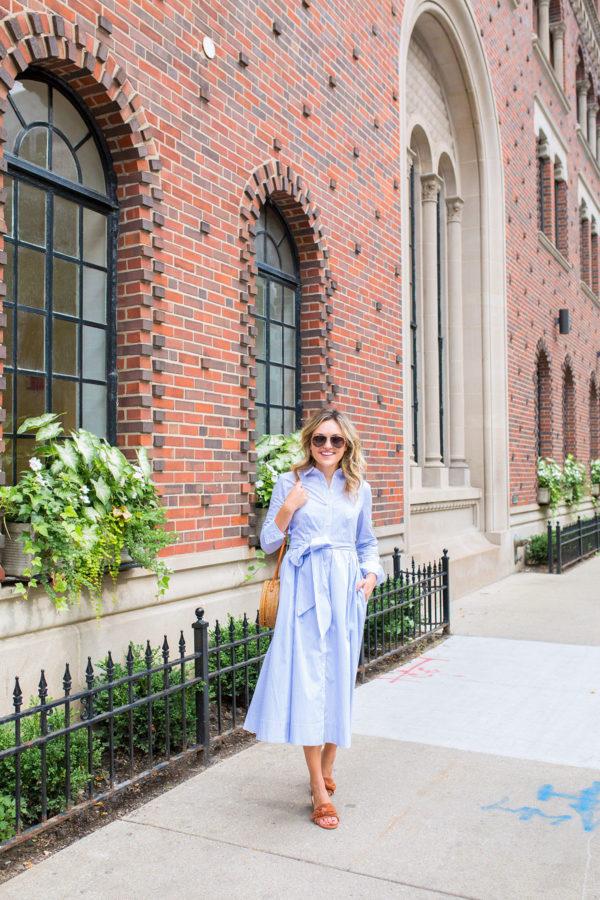 Nordstrom Anniversary Sale Striped Midi Dress with M.Gemi Sandals