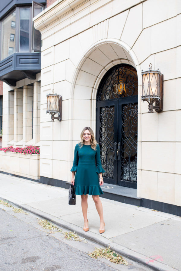 Chicago travel blogger Jessica Sturdy styling a ruffled dress.