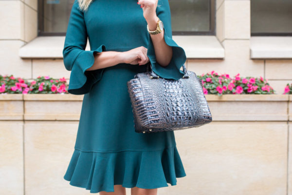 Chicago style blogger wearing a Nordstrom dress and Brahmin handbag