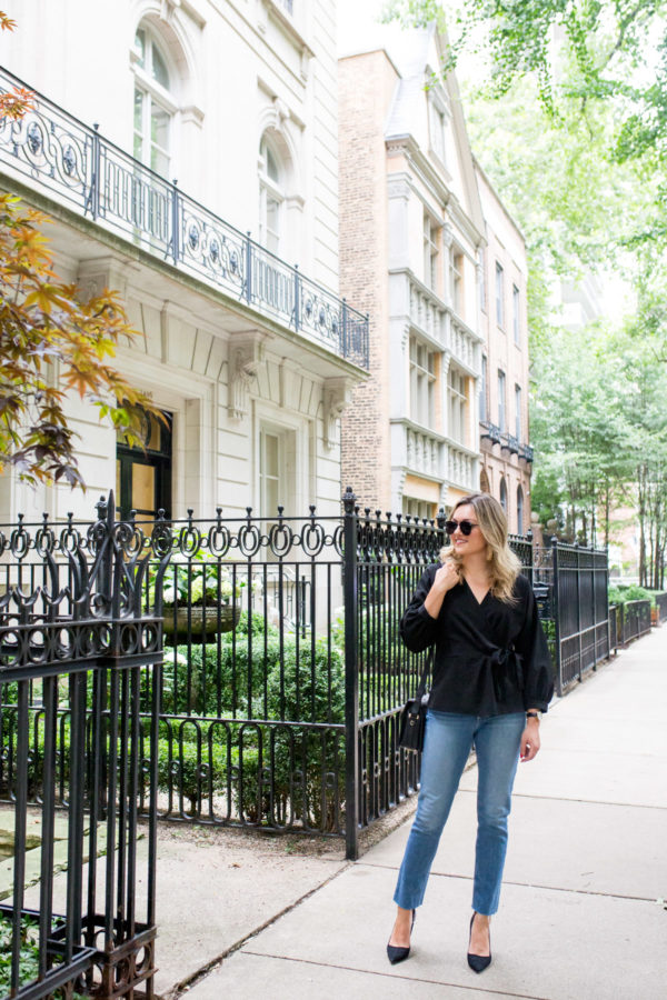 Chicago lifestyle blogger Jessica Sturdy styling raw hem straight leg jeans.