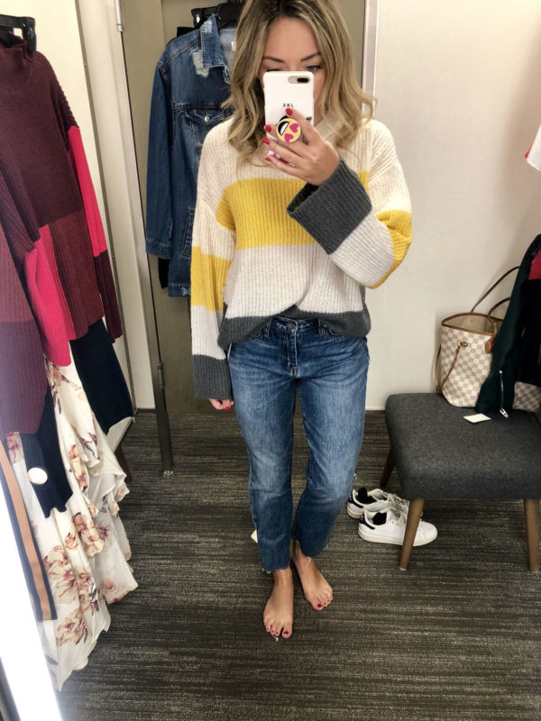 a3b767f9052 Nordstrom Anniversary Sale Favorite Purchases  BP Stripe Sweater + Blank  NYC Straight Leg Jeans