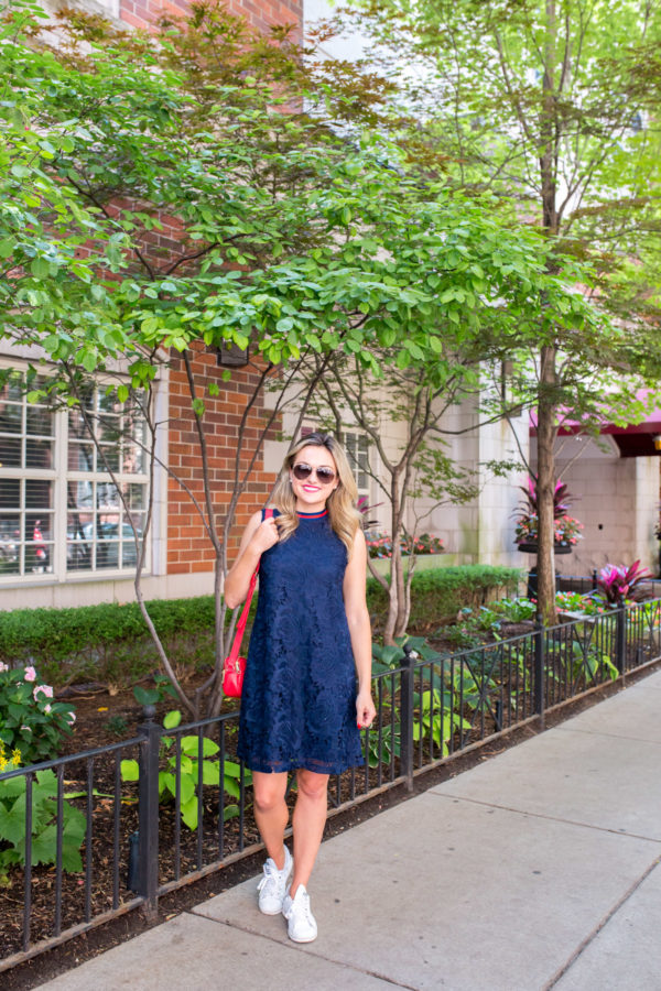 Chicago lifestyle blogger Bows & Sequins wearing a lace dress from the Nordstrom Anniversary Sale.