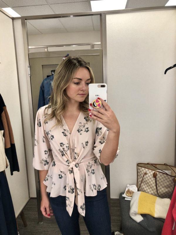 Nordstrom Anniversary Sale Wayf Floral Tie Blouse