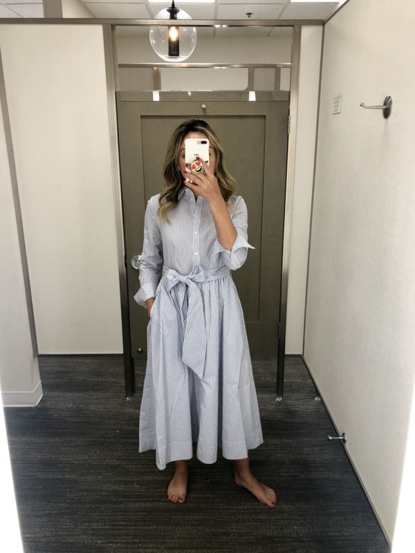 Nordstrom Anniversary Sale Best Purchase 1901 Striped Midi Shirt Dress Fit & Flare