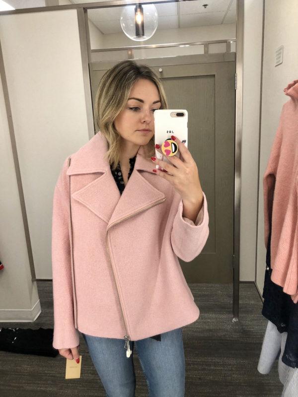Nordstrom Anniversary Sale Best Coats Pink Moto Jacket Boiled Wool