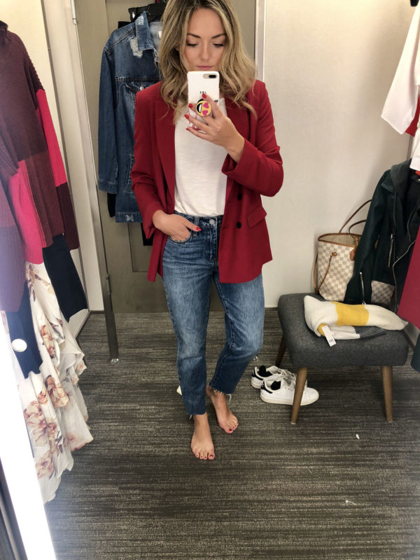 Nordstrom Dressing Room Anniversary Sale wearing a red blazer and straight leg jeans