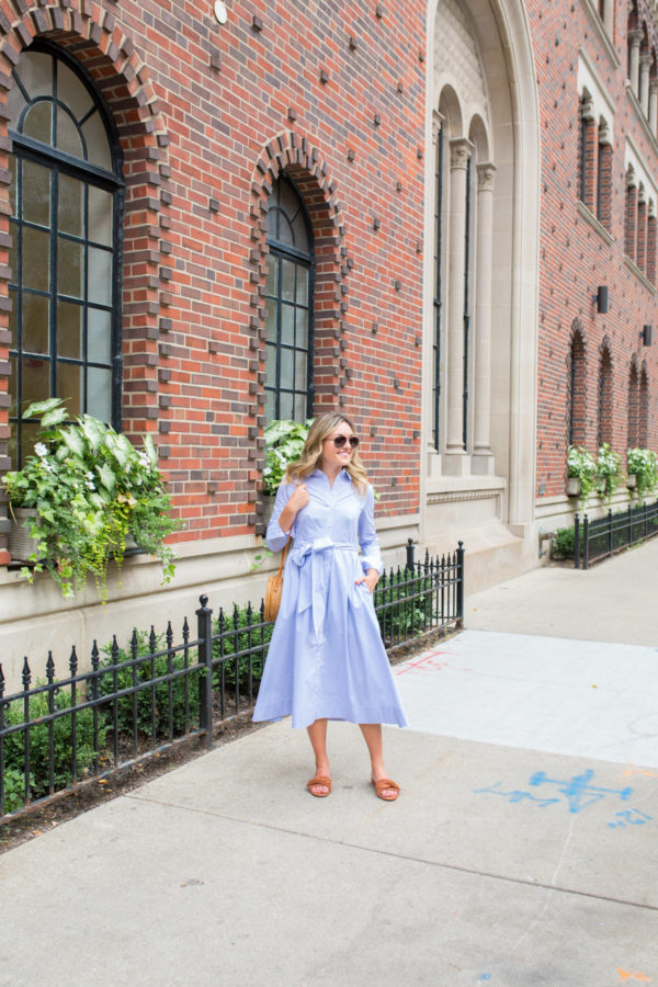 Jessica Sturdy wearing a blue and white striped shirtdress from the Nordstrom Anniversary Sale